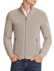 Ralph Lauren Black Label Multi Textured Merino Wool Cardigan Grey