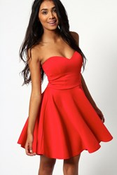 Boohoo Bandeau Skater Dress Red