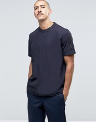 Asos Short Sleeve Military Shirts With Sleeve Pocket In Navy Black