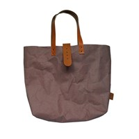 3 Wind Knots Paper Look Tote Bag With Clasp Brown Light Brown Clasp