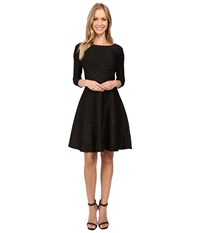 Donna Morgan Pleated Fit Flare Black Gold Women's Dress