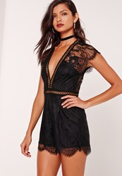 Missguided Kimono Sleeve Lace Playsuit Black