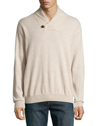 Neiman Marcus Cashmere Shawl Collar Pullover Sweater Sand