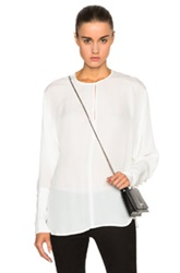 Tamara Mellon Georgette Keyhole Blouse In White