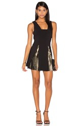 By Johnny Foil Fringe Panel Dress Black