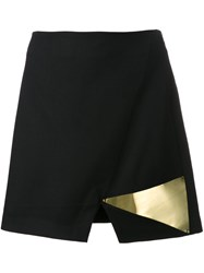 Jay Ahr Gold Tone Detail Slit Skirt Black