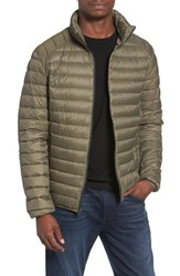 Schott Nyc Men's Quilted Down Jacket Olive