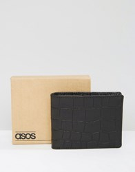 Asos Leather Wallet With Crocodile Emboss Black