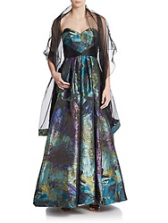 Theia Strapless Satin Print Gown And Sheer Shawl