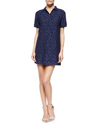 Msgm Short Sleeve Lace Polo Dress Women's Navy
