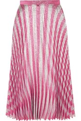 Gucci Pleated Metallic Striped Stretch Silk Midi Skirt Blush
