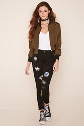 Forever 21 Patch Distressed Skinny Jeans
