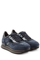 Hogan Suede And Patent Leather Platform Sneakers Blue