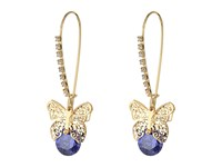 Betsey Johnson Amethyst Butterfly Cz Shepherd's Hook Earrings Amethyst Earring Purple