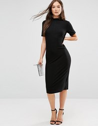 B.Young Short Sleeve Knitted Bodycon Dress With Button Detail Black