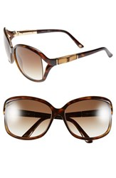 Women's Gucci 61Mm Oversized Bamboo Temple Sunglasses Havana