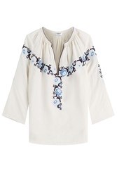 Vilshenko Linen Silk Blouse With Needlepoint Embroidery Beige