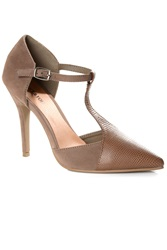 Alice And You T Bar Strap Contrast Heels Mocha