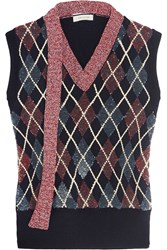 Marc Jacobs Embellished Wool Blend Top Navy