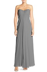 Women's Dessy Collection Sweetheart Neck Strapless Chiffon Gown Charcoal Grey