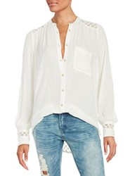 Free People The Best Top Crochet Accented Button Front Shirt Ivory