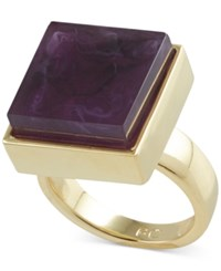 French Connection Gold Tone Semiprecious Square Stone Cocktail Ring Purple