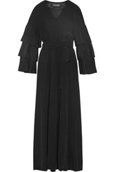 Co Wrap Effect Pleated Silk Crepe Maxi Dress Black