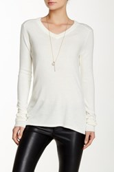 Sweet Romeo V Neck Hi Lo Sweater White