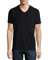 7 For All Mankind Raw Edge V Neck Knit Tee Charcoal Grey
