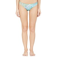 Basta Surf Women's Reversible Beach Print Bikini Bottom Blue Light Green Blue Light Green