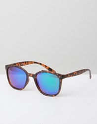 Jeepers Peepers Square Sunglasses In Tort With Revo Lens Brown