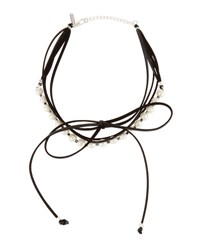 Panacea Pearly Layered Bow Choker Necklace Black