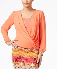 Thalia Sodi Faux Wrap Blouson Top With Necklace Only At Macy's Cool Salmon