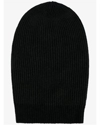 Rick Owens Large Cashmere Wool Blend Beanie Hat Black