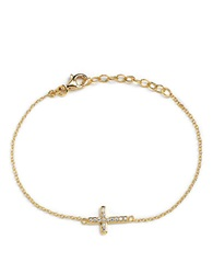Lord And Taylor 18 Kt Gold Over Sterling Silver And Cubic Zirconia Sideways Cross Bracelet