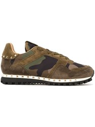 Valentino 'Rockstud' Camouflage Sneakers Green