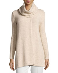 Lafayette 148 New York Cowl Neck Long Sleeve Sweater W Asymmetric Slit Melba Mela
