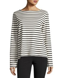 The Row Moris Striped Long Sleeve Top Blue Pattern