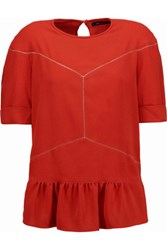 Isabel Marant Pointelle Trimmed Crepe Top Tomato Red