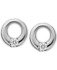 Skagen Elin Silver Tone Circle Stud Earrings