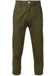 Stampd Cropped Chino Trousers Green
