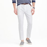 J.Crew Pleated Trouser In White Oxford Cloth