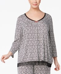 Ellen Tracy Plus Size Contrast Trimmed Printed Pajama Top Black Ivory