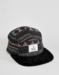 Asos 5 Panel Cap In Aztec Woven Black