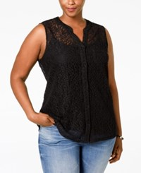 Styleandco. Style And Co. Plus Size Lace Sleeveless Blouse Only At Macy's Deep Black
