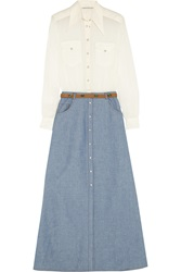 Alessandra Rich Georgette Blouse And Chambray Maxi Skirt Set