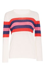 Anna Sui Sporty Stripe Knit Sweater White