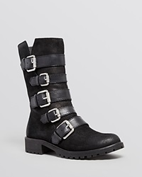 Naya Flat Moto Boots Darryn Buckle Black Oiled Suede Leather
