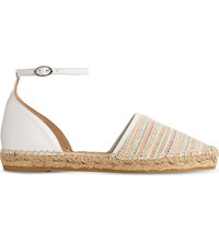 Lk Bennett Dorian Leather And Woven Espadrilles Mul Off White