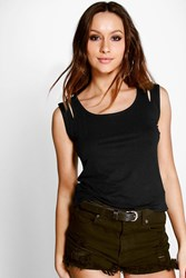 Boohoo Key Hole Detail Strap Vest Black